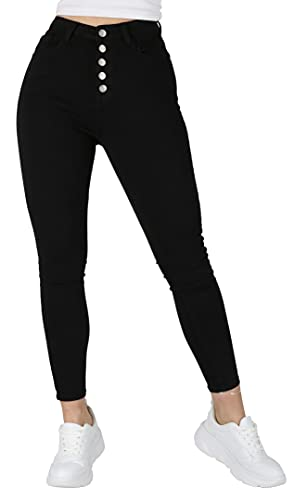Giralin Damen Jeans Casual High Waist Freizeithose 5-Pocket-Style High Stretch Hose 200499 Schwarz 42