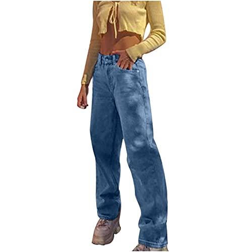 BaZhaHei Mode Damen Elastisch Hohe Taille Lose Tasche Blau Einfarbig Print Jeans Hosen Elasticity Schlaghosen...