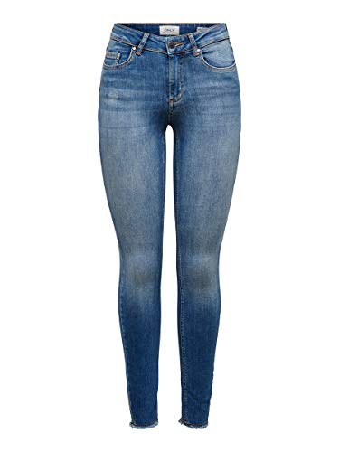 ONLY Damen Onlblush Mid Ank Raw Rea1303 Noos Jeans, Dark Blue Denim, L 30L EU