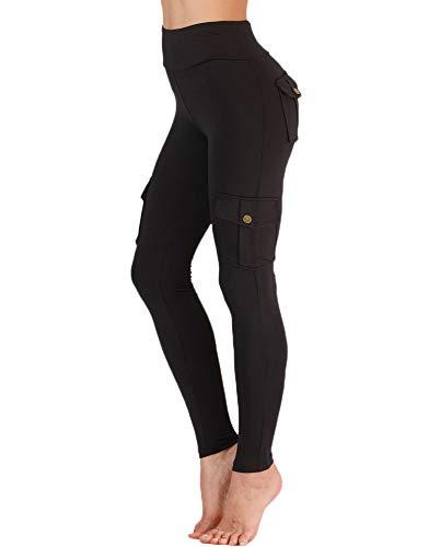 Nuofengkudu Damen High Waist Sporthose Leggings mit Taschen Militärisch Stil Stylisch Push up Tights Hosen Jogginghose...