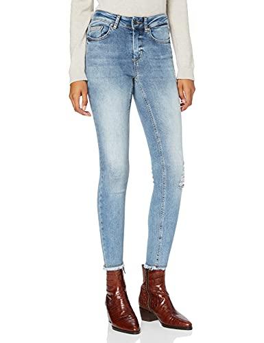 ONLY Damen Onlblush Mid Sk Ank Raw Rea333noos Jeans, Light Blue Denim, M / 30L