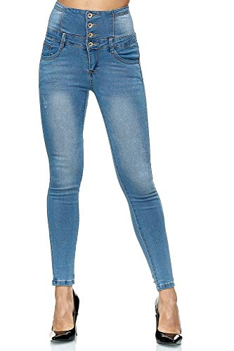 Elara Damen Jeans High Waist Push Up Skinny Fit Chunkyrayan 1166 Blue-42 (XL)