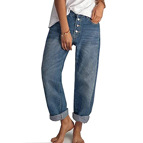 Yokbeer Damen Casual Straight-Leg Jeans Boyfriend High Waist Wide Leg Hose Hosen für Damen die Ganze Saison (Color :...