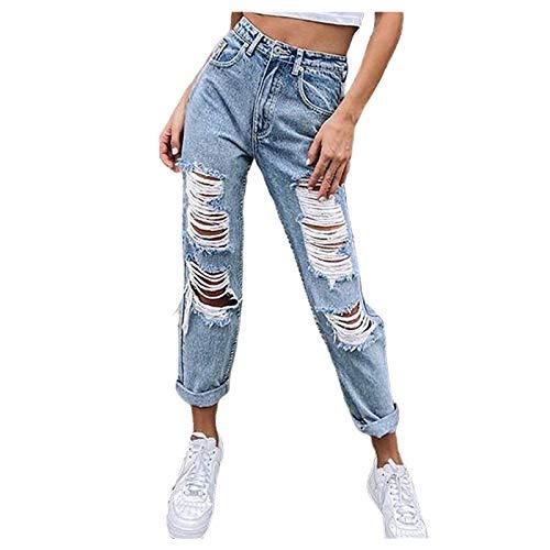 Ghemdilmn Jeans für Frauen Mode Hohe Taille Loch Jeanshosen Beiläufig Lose Gerade Jeanshose Stretch Denim Jeans Slim...