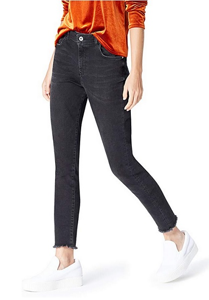High Waist Jeans Skinny Damen schwarz